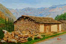 Landscape Oil Art Painting title In Consonanace With Nature by artist Ajay Harit