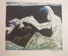 Mother Teresa 1   Painting by artist M F Husain   serigraphs   Paper