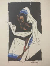 M F Husain | Serigraphs Painting title Mother Teresa 7 on Paper | Artist M F Husain Gallery | ArtZolo.com