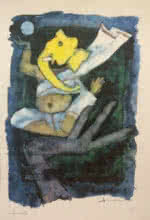 M F Husain | Serigraphs Painting title Ashtavinayak Series Ganesha 1 on Paper | Artist M F Husain Gallery | ArtZolo.com