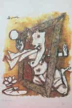 Expressionist Serigraphs Art Painting title 'Ashtavinayak Series Ganesha 2' by artist M F Husain