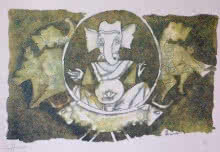 Expressionist Serigraphs Art Painting title 'Ganesha 1' by artist M F Husain
