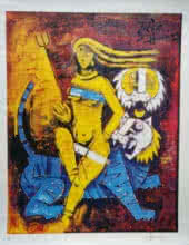 Expressionist Serigraphs Art Painting title Untitled by artist M F Husain