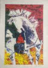 M F Husain | Serigraphs Painting title The Horse on Paper | Artist M F Husain Gallery | ArtZolo.com