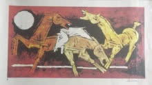 Horses | Painting by artist M F Husain | serigraphs | Paper