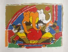 Ganesha 2 | Painting by artist M F Husain | serigraphs | Paper