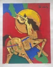 M F Husain | Serigraphs Painting title Horse on Paper | Artist M F Husain Gallery | ArtZolo.com