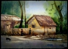 Beauty of village 2 | Painting by artist Sohel Sayyad | watercolor | paper