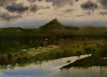 Beauty of village 2   Painting by artist Sohel Sayyad   watercolor   paper