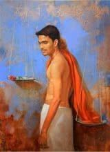 Amit Thombare | Acrylic-oil Painting title Dharma kata on Canvas | Artist Amit Thombare Gallery | ArtZolo.com