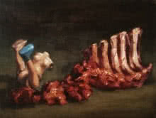 Figurative Oil Art Painting title Still Life With Meat And Toy by artist Aditya Puthur