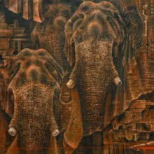 Animals Oil Art Painting title How Many More by artist Vikram Nayak