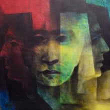 Expressionist Acrylic Art Painting title 'Heads' by artist Vishnu Sonavane
