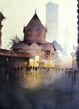 Cityscape Watercolor Art Painting title 'Rainy Season' by artist Atul Gendle