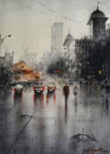 Cityscape Watercolor Art Painting title 'Rainy Season 2' by artist Atul Gendle