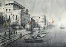 Cityscape Watercolor Art Painting title 'Varanasi' by artist Atul Gendle