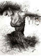 Figurative Pen-ink Art Drawing title Dancing With Guitar by artist Pratap Chakraborty