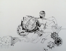 art, painting, ink, paper, figurative