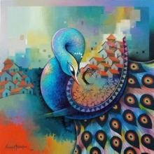 Figurative Acrylic Art Painting title 'Affection 15' by artist Sanjay Tandekar