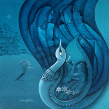 Figurative Acrylic Art Painting title 'Affection 19' by artist Sanjay Tandekar