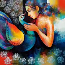 Figurative Acrylic Art Painting title 'Damyanti 3' by artist Sanjay Tandekar