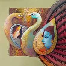 Religious Acrylic Art Painting title 'Enchant 8' by artist Sanjay Tandekar