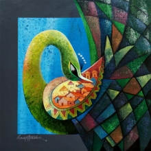 Animals Acrylic Art Painting title 'Fascination 2' by artist Sanjay Tandekar