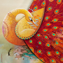 Animals Acrylic Art Painting title 'Fascination 8' by artist Sanjay Tandekar