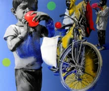 A boy with red ballon | Painting by artist Manohar Rathod | acrylic | Canvas