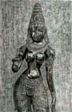 Figurative Charcoal Art Painting title 'Goddess Lakshmi' by artist Preeti Ghule
