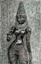 charcoal portrait of goddess lakshmi,