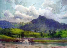 Landscape Watercolor Art Painting title 'Badlapur Lake' by artist RAKESH SURYAWANSHI