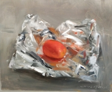 Still-life Oil Art Painting title 'Tomato With Aluminium Foil' by artist SURABHI GULWELKAR