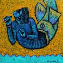 Aditya Pandit | Acrylic Painting title Matsya avatar on Canvas | Artist Aditya Pandit Gallery | ArtZolo.com