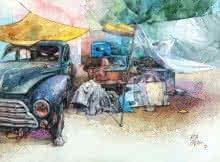 art, painting, mix-media, paper, pen, watercolor, transportation