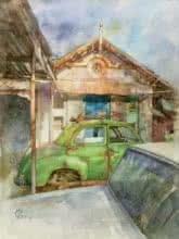 art, painting, mix-media, paper, watercolor, transportation