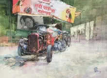 Transportation Mixed-media Art Painting title 'Wheels At Rest 4' by artist Aditya Phadke