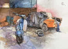 Transportation Mixed-media Art Painting title 'Wheels At Rest 5' by artist Aditya Phadke