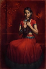 Figurative Oil Art Painting title Around The Beauty by artist Siddharth Gavade