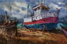 Siddharth Gavade | Watercolor Painting title Boat on Paper | Artist Siddharth Gavade Gallery | ArtZolo.com