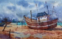 Siddharth Gavade | Watercolor Painting title Boat 1 on Paper | Artist Siddharth Gavade Gallery | ArtZolo.com