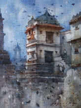 Siddharth Gavade | Watercolor Painting title Cityscape 1 on Paper | Artist Siddharth Gavade Gallery | ArtZolo.com