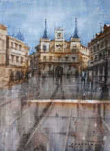 Cityscape Watercolor Art Painting title 'Cityscape 3' by artist Siddharth Gavade
