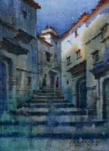 Siddharth Gavade | Watercolor Painting title Cityscape 4 on Paper | Artist Siddharth Gavade Gallery | ArtZolo.com