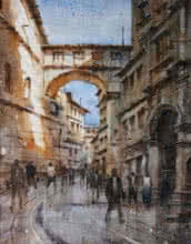 Siddharth Gavade | Watercolor Painting title Cityscape 5 on Paper | Artist Siddharth Gavade Gallery | ArtZolo.com