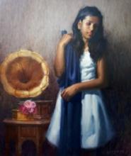 Siddharth Gavade Paintings | Figurative Painting - Gramaphone Melody by artist Siddharth Gavade | ArtZolo.com