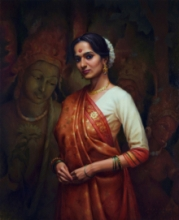 Figurative Oil Art Painting title Indian Women And Culture by artist Siddharth Gavade