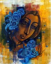 Figurative Acrylic Art Painting title 'Deep Thoughts' by artist Shaista Momin