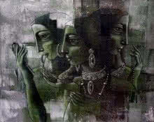 Three Ladies | Painting by artist Shaista Momin | acrylic | Canvas