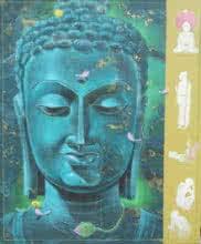 Religious Acrylic Art Painting title Green Gautama Buddha by artist Swapan Das